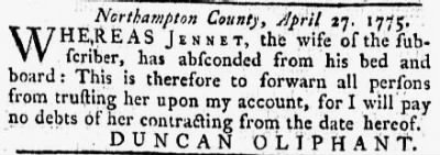 Duncan Oliphant 1775 Notice re Runaway Wife.JPG - Fold3.com