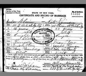 Isidor Klein & Kate Hyman marriage certificate