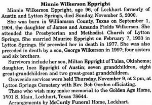 Minnie W Eppright 2000 Obit.JPG