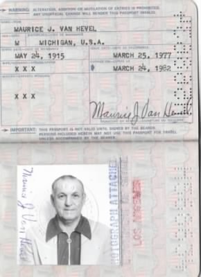 Passport and picture of Maurice Joseph Vanhevel