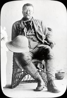 Theodore Roosevelt dressed in expedition attire
