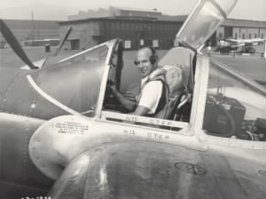 Van Heusen in his second life as a World War II-era test pilot