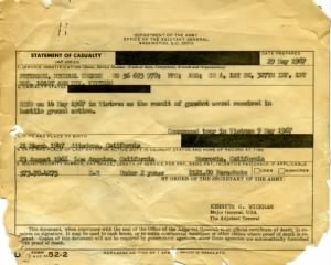 Statement of casualty from graves registration date 29 May 1967