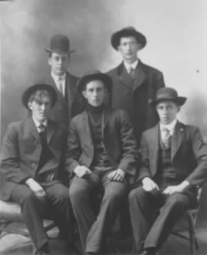 Loren Sisson (center) and friends   About 1906.jpeg