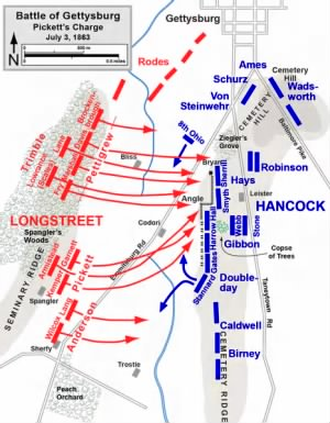 Map Of Pickett's Charge