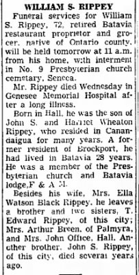 William S Rippey 11 Nov 1949 Canandaigua Daily Messenger Obit.png
