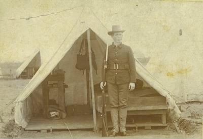 A. S. Davis in front of his tent WWI.jpg - Fold3.com