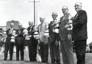 Class of 1964 L-R Clarke Hinkle, Art Rooney, Jimmy Conzelman, Ed Healey, Mike Michalske, Link Lyman, George Trafton..jpg