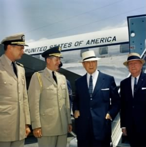 General Douglas MacArthur is wearing the white hat..jpg