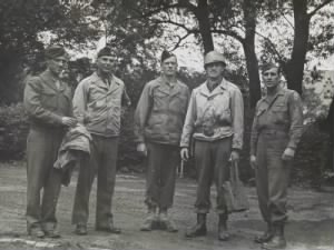 Walker Hancock, Lamont Moore, George Stout and two unidentified soldiers in Marburg, Germany, June 1945.jpg