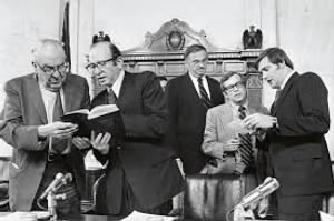 Left to right,Sam Ervin, Sam Dash, Lowell Weicker, Howard Baker, and deputy counsel Rufus Edmisten. .jpg