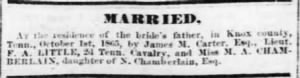 Frank A Little to M A Chamberlain 1865 Marr Notice.JPG