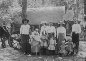 Thos Smyth & Mary E. Millsap et al. with Covered Wagon.JPG