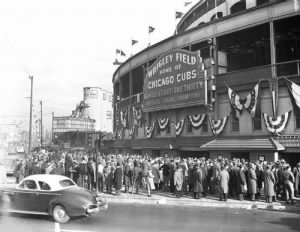 Fans outside Wrigley Field for 1945 World Series game..jpg