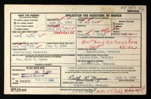 Cecil O Myers headstone application with military info 1954.jpg