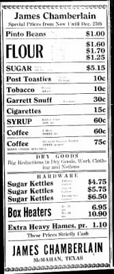James Chamberlain Grocery 1937 Ad.png