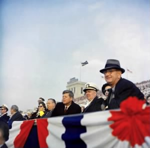 JFK LBJ and George Anderson at Army Navy game 1962.jpg