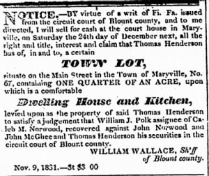 Will Wallace Sheriff 1831 to Sell Maryville Town Lot Pursuant to Fieri Facias Writ.jpg