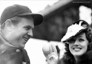 Lefty and June with a signed 1938 World Series baseball.jpg