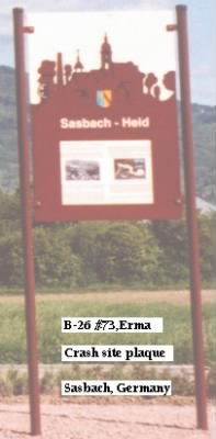 B26 Erma Crashsite Plaque, Sasbach, Germany.JPG