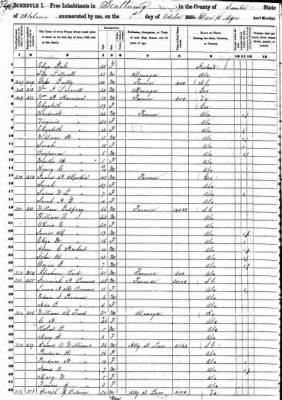 1850 Federal Census, James H Martin Family