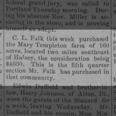 C.L. Falk buys more land near Halsey in 1905