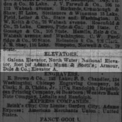 BAKER, Levi S. 1871 employer burned out in Chicago Fire