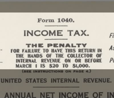 The first Federal Income Tax form