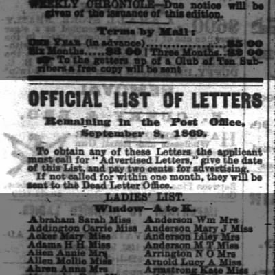 "Official List of Letters in an 1868 issue of ""The San Francisco Chronicle"""