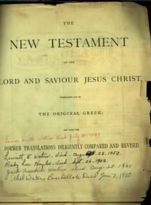 Louise Smith Waters' Family Bible Cover Page