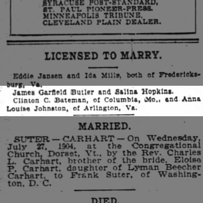 Bateman, Clinton Clarkson, Licensed to Marry, 30 July 1904
