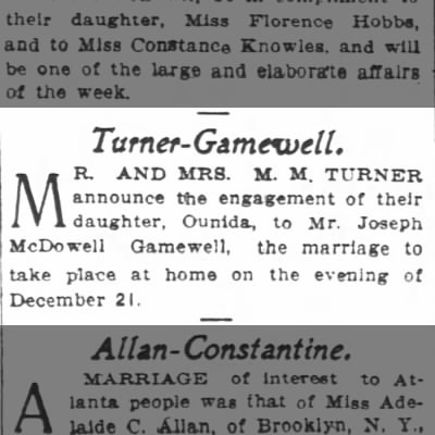 M.M. Turner -- Engagement of Daughter, Ounida, to Joseph Gamewell