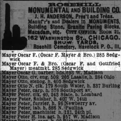 Oscar F. Mayer in Chicaco City Directories