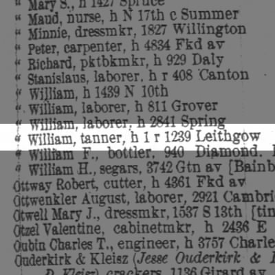 Otto William, tanner, h 1 r 1239 Leithgow