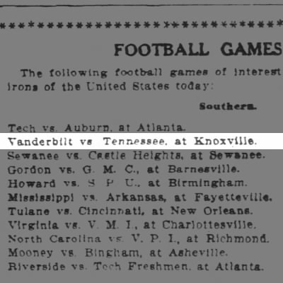 Vanderbilt VS Tennessee at Knoxville- 6 Nov 1909