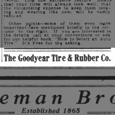 Goodyear Tire and Rubber Co. - 1909