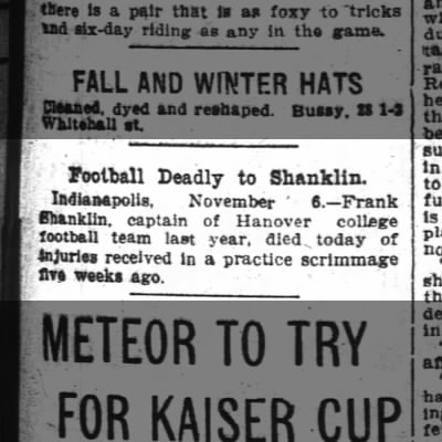 Hanover College student dies from football injuries, 1903