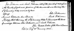 Sarah Thomas Robinson and John Dickinson  marriage