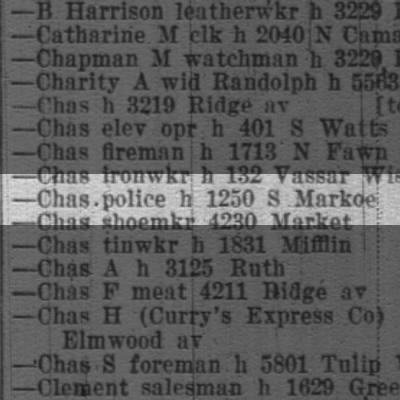 Curry, Chas police h 1250 S Markoe