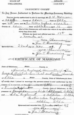 Morrison & England ~ Marriage License (Front: Edited)